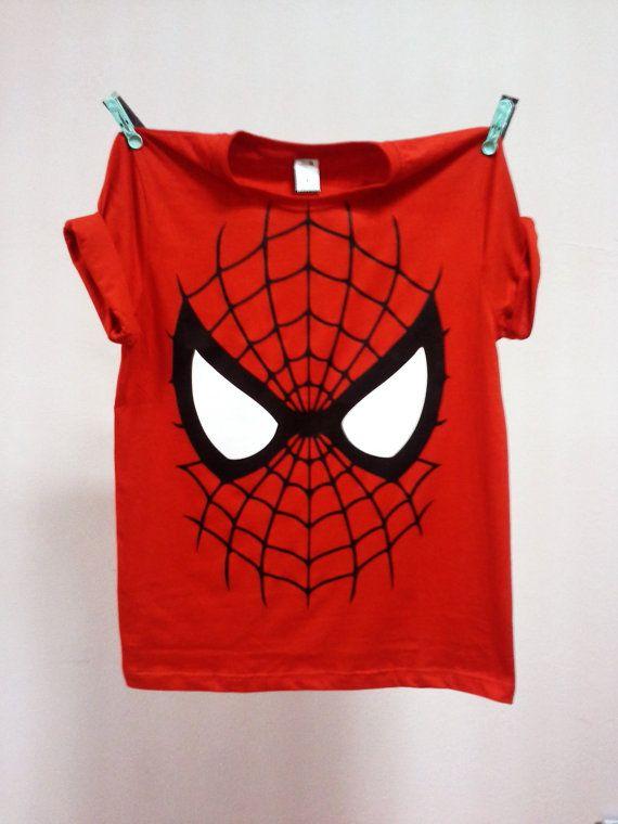 Super Hero Tshirt Face Spiderman Unisex Adult by SpaceBlah, ฿400.00