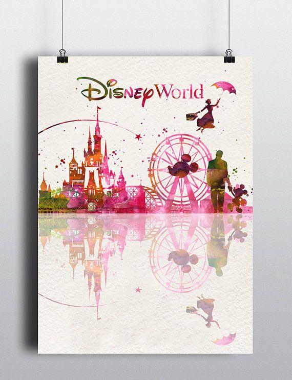 Disney, Art Print, Watercolor, Disney poster, Disney, Art, Disney World, Wall art, Disney City Art , Disneyland, Gift, Kids  Decor
