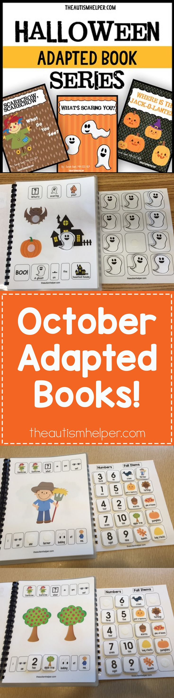 Our October Adapted Books are here! Sarah the Speech Helper shares her ideas for fall on the blog! From theautismhelper.com #theautismhelper