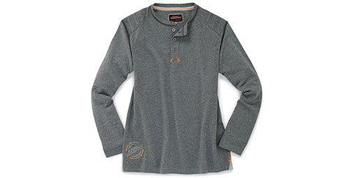 Rugby Shirt. Cómoda y resistente camiseta de manga larga. Hombros y espalda reforzados con pespunte. Decoración impresa en gris y naranja. Material: 100% algodón peinado.