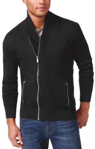 HUGO BOSS Sipp Slim Fit Asymmetric Zip Shawl Collar Sweater Black Large L
