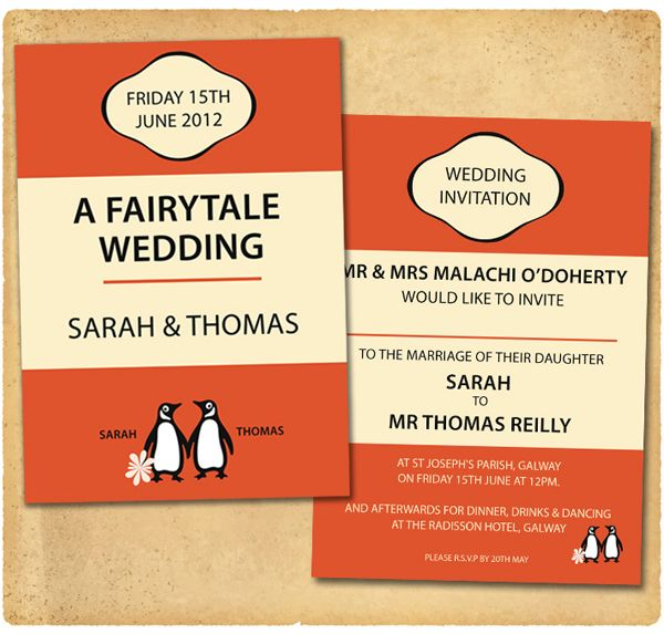 Penguin Book Cover Wedding Invitation : Best images about invitations on pinterest wedding