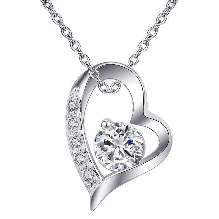 Любовь сердца bling циркон посеребренная Ожерелье Новый Продажи серебряные ожерелья & подвески/MASCYZVB…