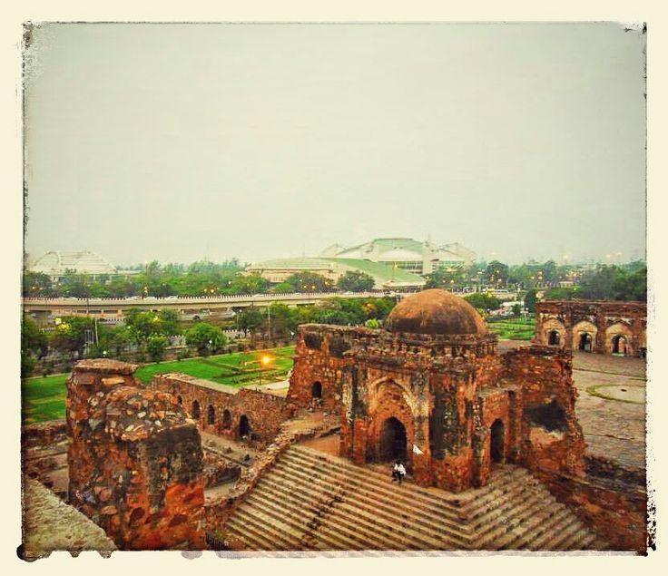 Perfect amalgamation of the old and modern. Ferozeshah Kotla fort facing the modernised version of Delhi