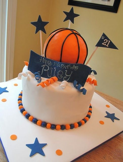 Birthday Cake For Basketball ~ Basketball birthday cake use all black orange accents with tiger paws party ideas
