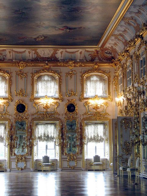 Interior, the Grand Palace, Peterhof, St. Petersburg, Russia.