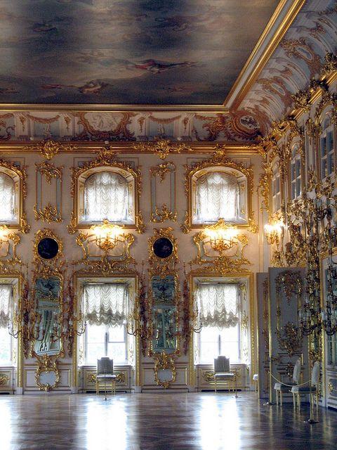 Interior, the Grand Palace, Peterhof, St. Petersburg, Russia.
