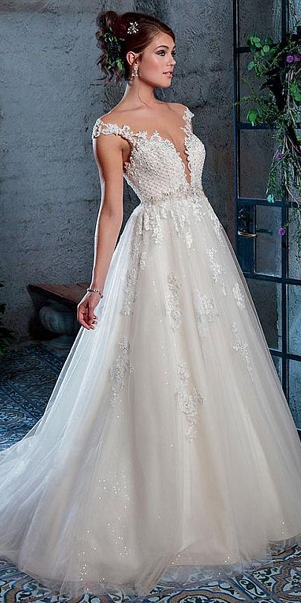 294100546c4 Alluring Tulle Scoop Neckline A-line Wedding Dress With Beadings   Lace  Appliques
