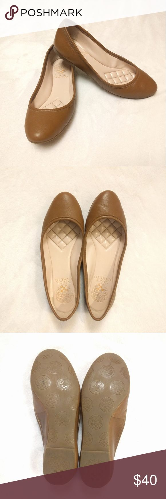 Vince Camuto Vo-Lupe brown ballet flats In GREAT Condition!! Pre-owned. Only worn a few times. Color brown. Leather upper. Round toe. Size: 5 Vince Camuto Shoes Flats & Loafers