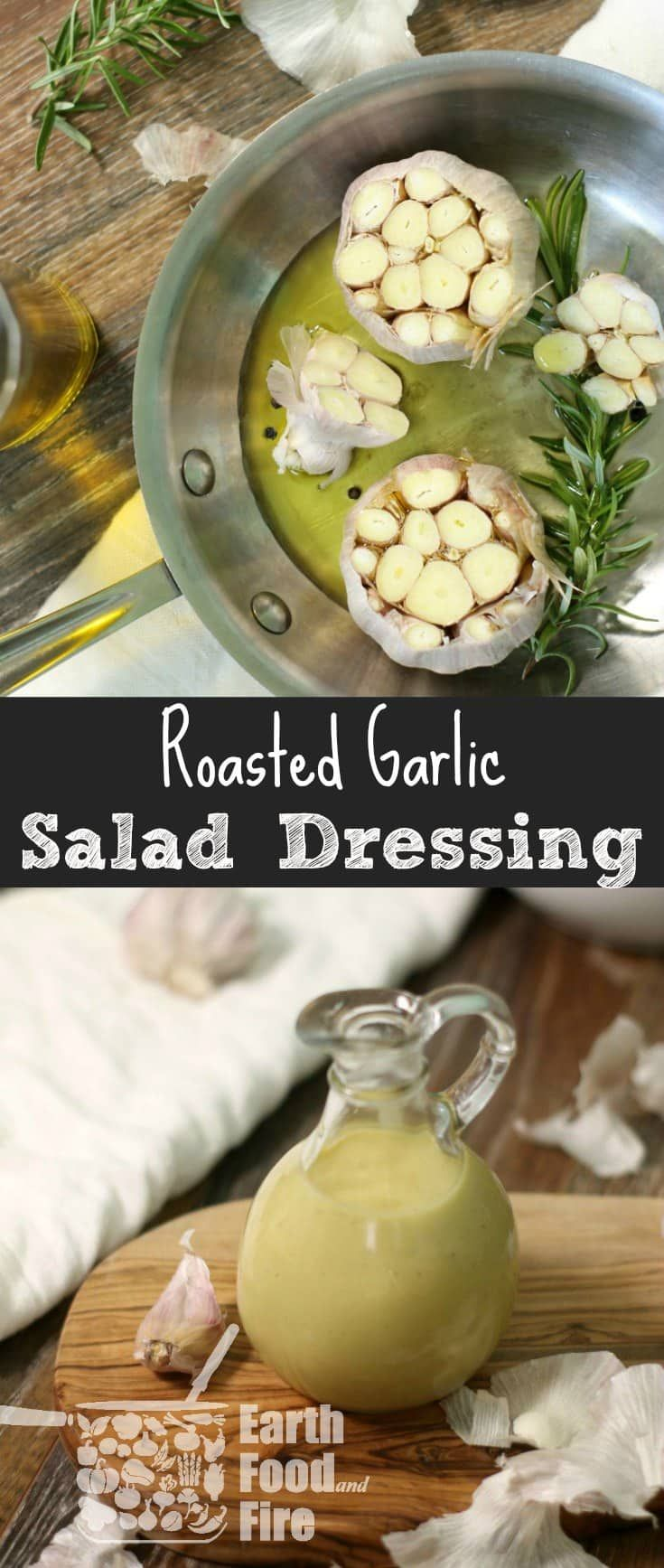 This easy to make creamy roasted garlic salad dressing will instantly become your new favorite vinaigrette. Ideal for a wide range of salads, this gluten free dressing can be used as a base for many other dressings as well! via @earthfoodfire