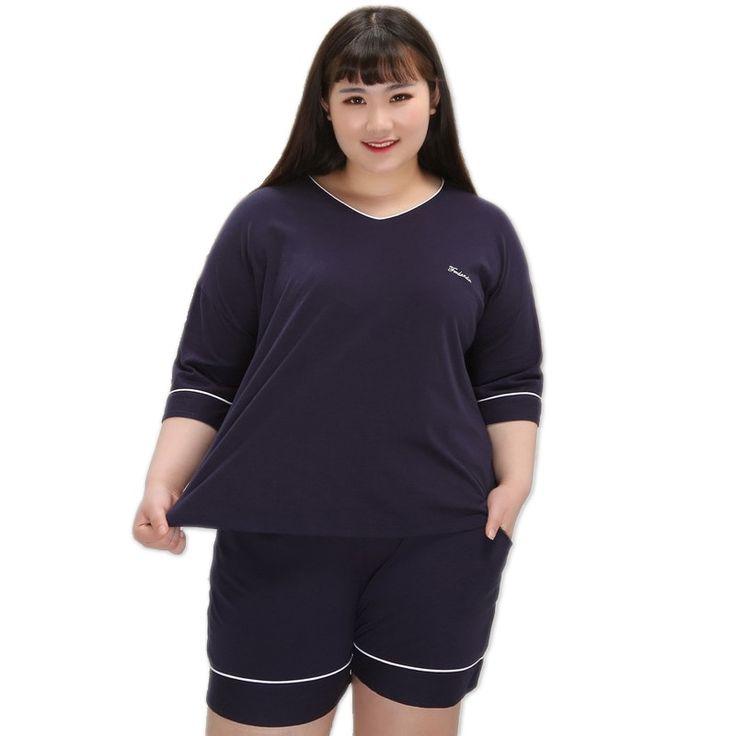 Plus Size Sexy V-Neck Cottonshort Pajamas Sets Women Cotton Summer Deep Blue Pijama Feminino Cute Pyjamas Women XXXXXL
