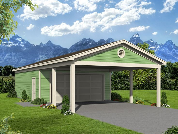 062g 0185 2 Car Garage Plan With Carport 24 X56 Garage Workshop Plans Country Style House Plans Garage Plan