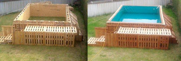 DIY homemade swimming pool - wood pallets + large tarp or plastic. Even has steps!