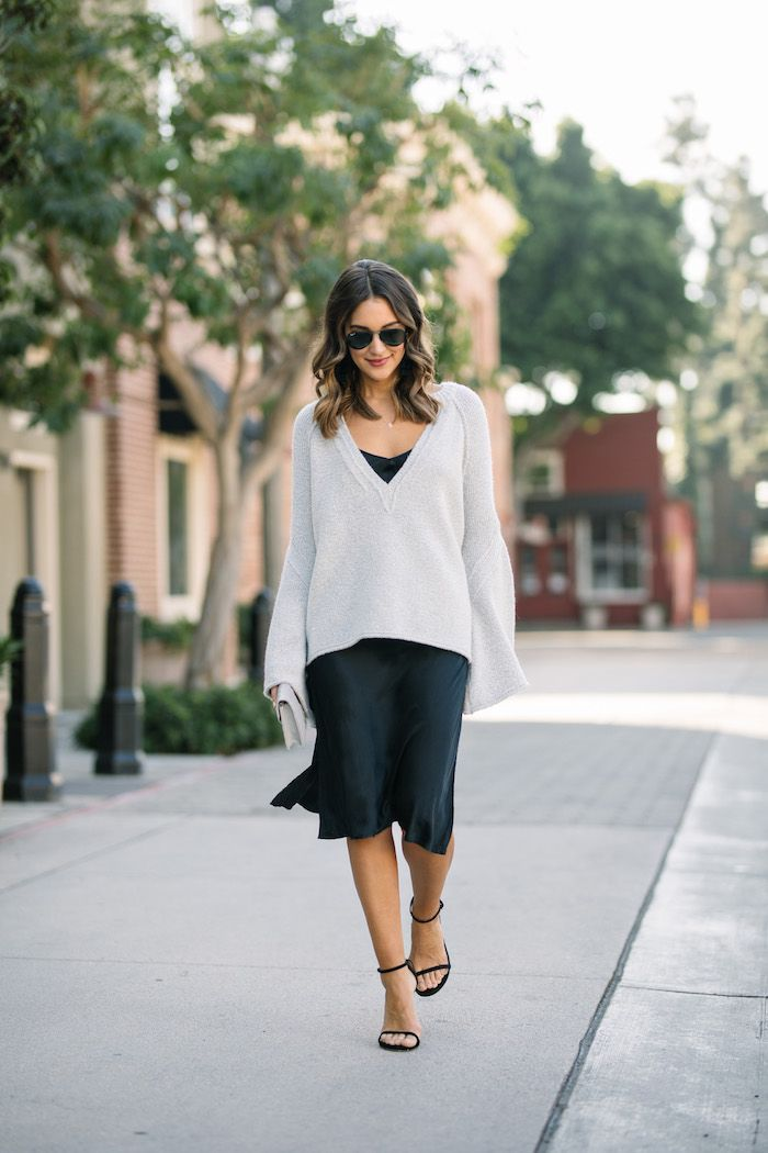 0c878aa87333 Layering a Sweater Over a Slip Dress | Fall Holidays | Sweater over ...