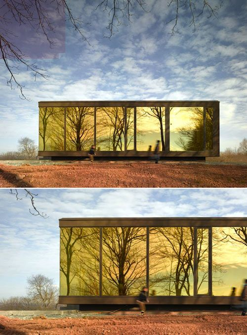 The reflective glass windows make the house practically a work of art