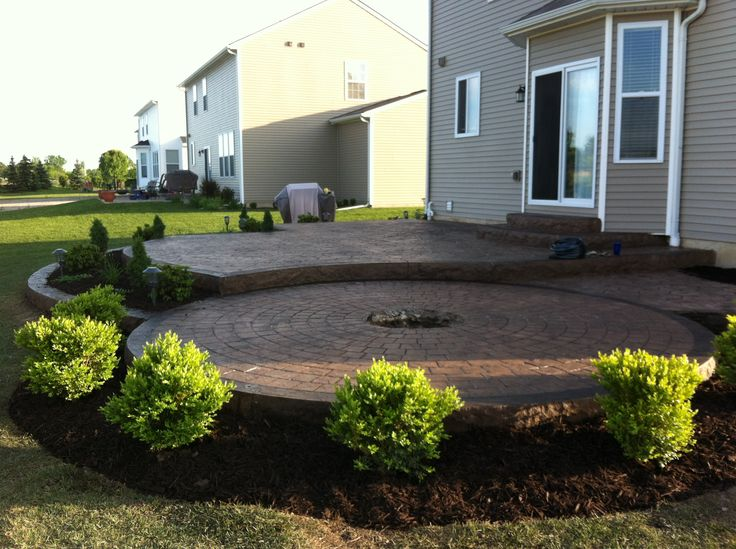 Stamped Concrete Patio, two levels with a fire pit ring | Deck ...