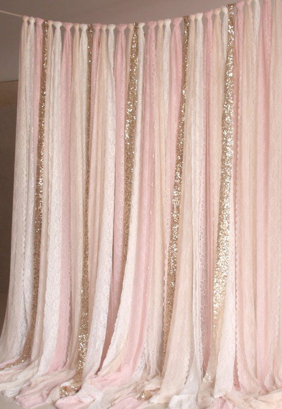 Light Peach Pink White Lace, Sparkle Fabric Photobooth Background Wedding Ceremony Stage, Birthday, Baby Shower Party Curtain Background Nursery