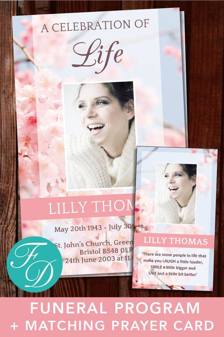 Pink blossom Printable Funeral Program ready to edit & print with matching prayer card. Simply purchase your funeral templates, download, edit with Microsoft Word and print. #obituarytemplate #memorialprogram #funeralprograms #funeraltemplate #printableprogram #celebrationoflife