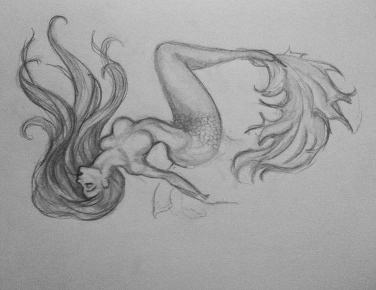 Images For > Mermaid Sitting On Rock Drawing