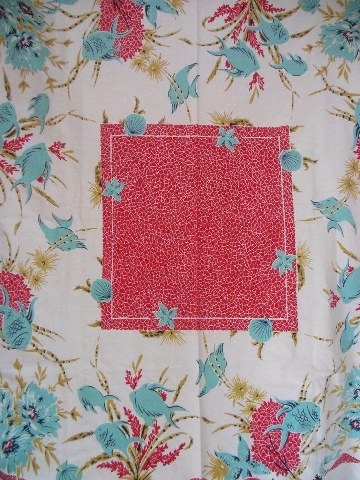Vintage Red Aqua Under the Sea Tropical Tablecloth   eBay