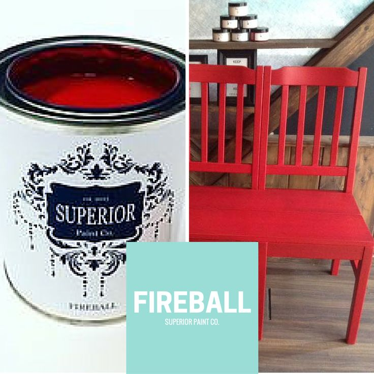 Superior Paint Co. Fireball Red chair bench makeover
