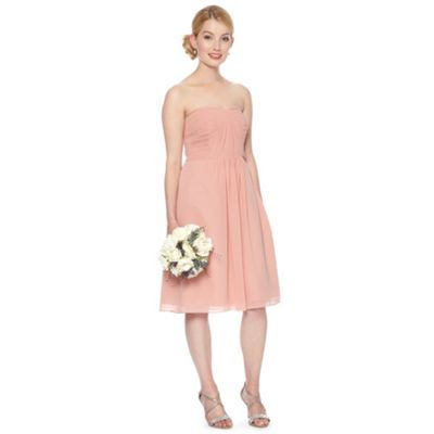 Debut Peach pleated bandeau occasion dress- at Debenhams.com