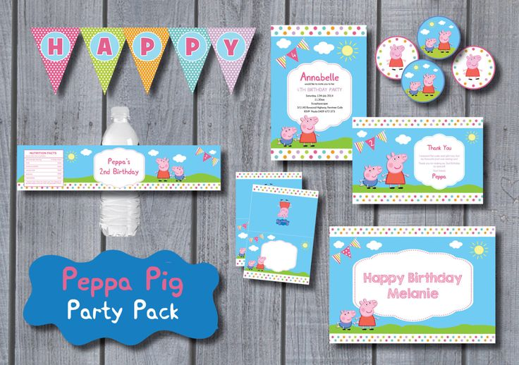 PEPPA PIG Party Pack Printable Party Kit Personalized Invite Birthday Banner Bunting Cupcake Toppers Food Labels Party Supplies Bottle Label by RedAppleStudio on Etsy https://www.etsy.com/listing/216630776/peppa-pig-party-pack-printable-party-kit