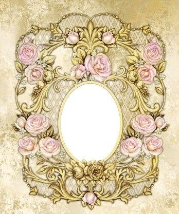Vintage frame with pink roses on golden background byMaria Rytova