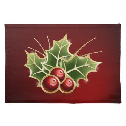 Shining Holly Berry red Cloth Placemat | Zazzle.com ...