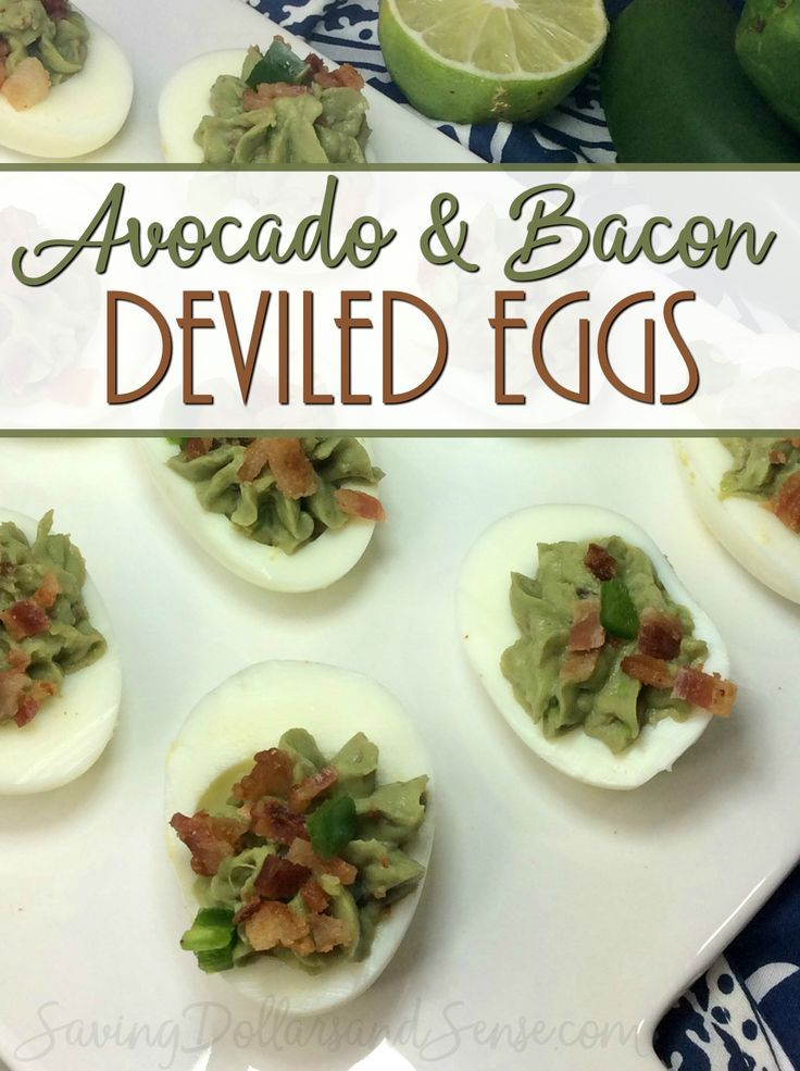 This Avocado Deviled Egg recipe idea is a delicious and healthy way to enjoy deviled eggs appetizer this year during Easter dinner.