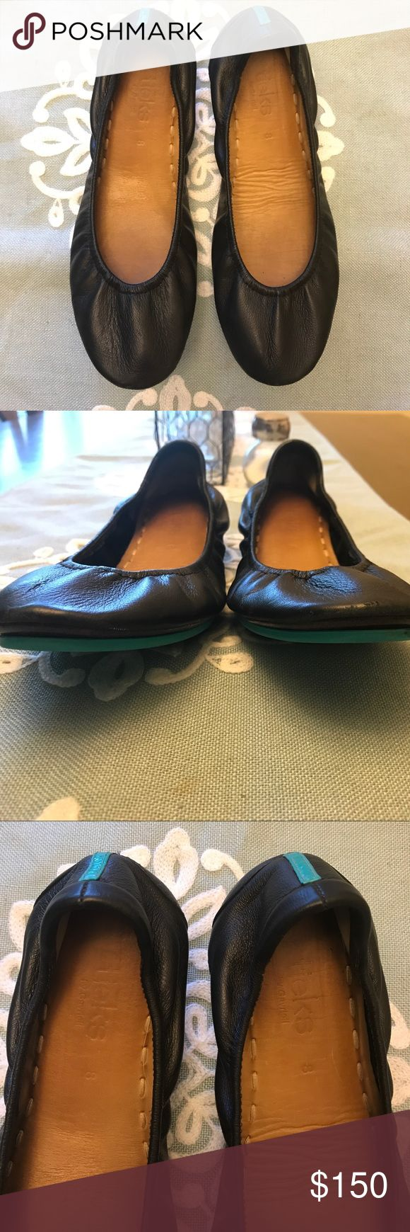 Matte Black Tieks Classic black mattes! Good condition with some small scuffs on the right heel  from driving. For sale or possibly trade ONLy for one of these colors in good condition: ballerina pink, fuschia, taupe, feather grey, or cobalt. Thanks for looking! Tieks Shoes