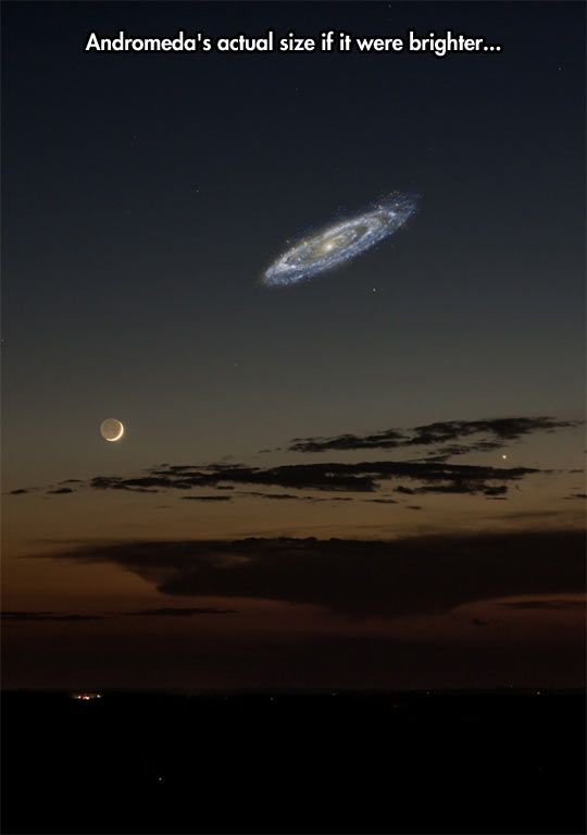 Humility:   Andromeda's actual size, not accounting for the fact it is 2.5 BILLION LIGHT YEARS away, compared with the moon's 238,000 MILES away.  It contains a Trillion stars, while our galaxy contains at most a half a billion stars... And some on earth delude themselves that they are the center of Everything.