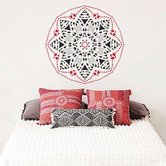 Mandala wall decal Mandala star vinyl decal Mandala wall art Yoga studio Bedroom flower decor Boho indian design Mandala sticker #022