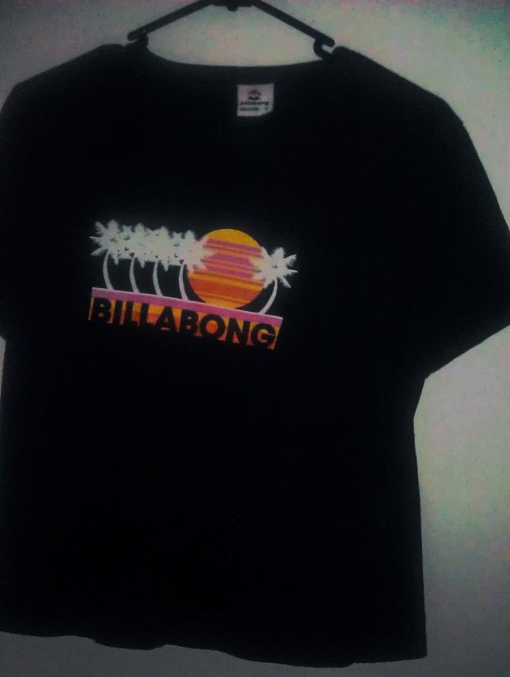 1990s Billabong Retro Print T-shirt Navy Blue Palm Trees Sunset