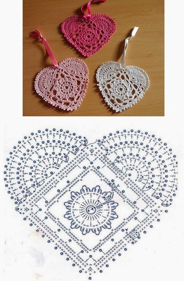 Lace Crochet Heart pattern                                                                                                                                                                                 Más                                                                                                                                                                                 Más