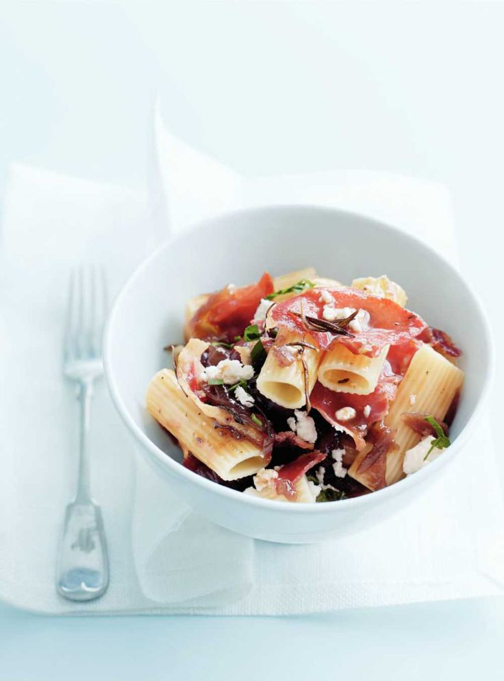Pancetta, Caramelised Onion & Olive Pasta via Donna Hay