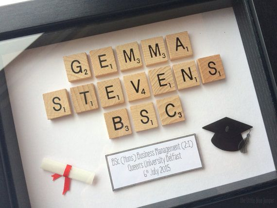 Graduation Gift  Personalised Scrabble by TheLittleBlueJumper