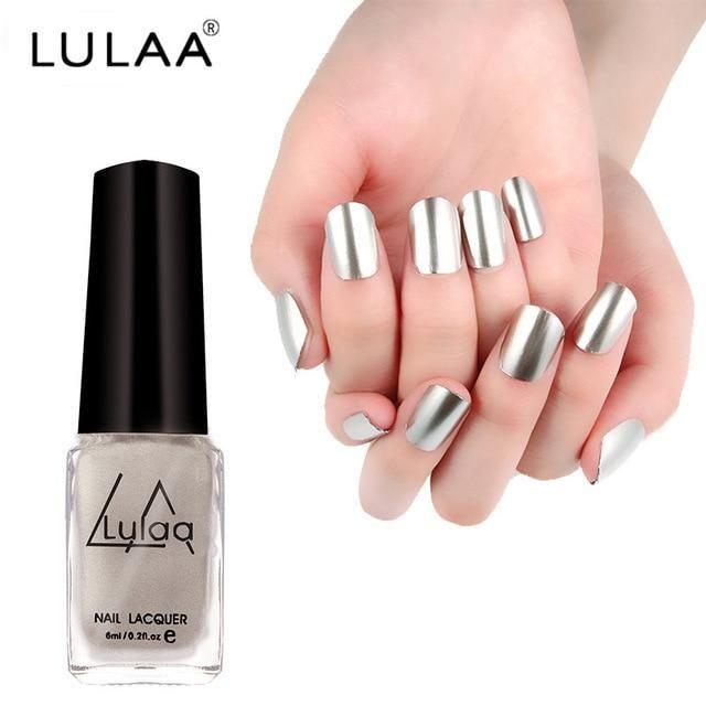 LULAA 5 Colors Metallic Nail Polish Long Lasting Matte Effect Makeup Sliver Nail…