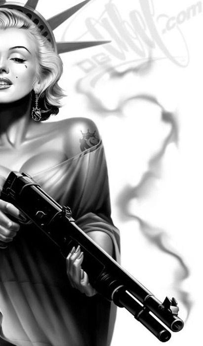 black and white, dope, gorgeous, gun, illustration, marilyn monroe