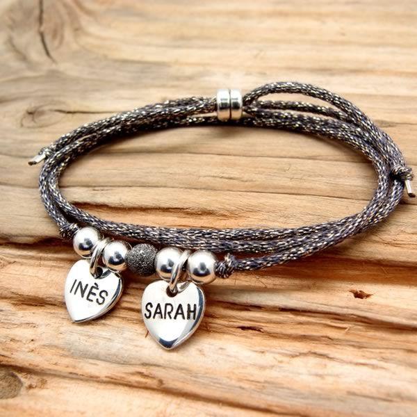 Bracelet collier personnalisé coeurs à graver
