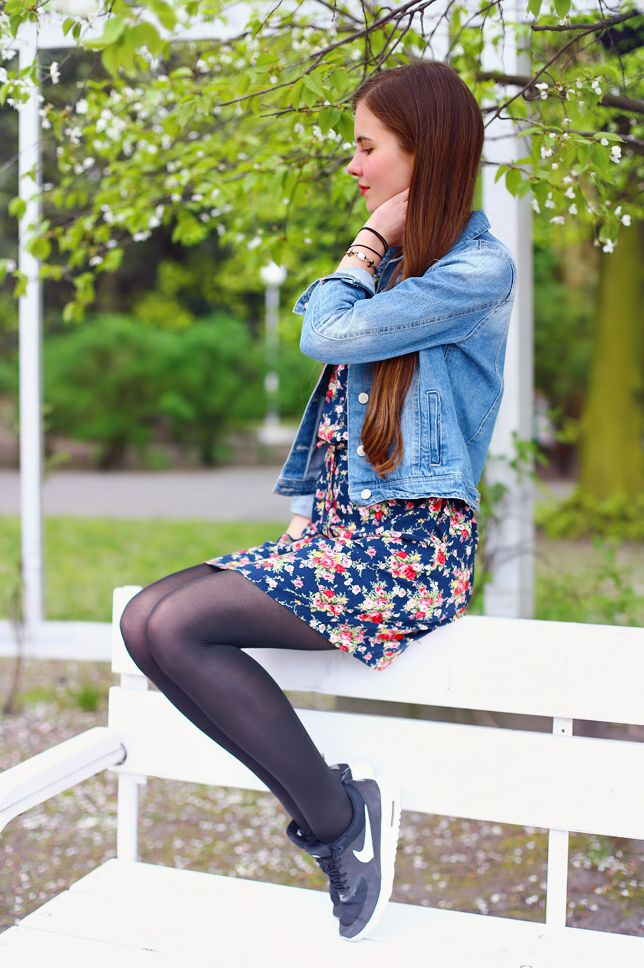denim jacket floral dress navy tights running shoes