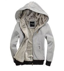 Sports Hooded Zipper Solid Color Long Sleeve Fleece Hoodie For Men