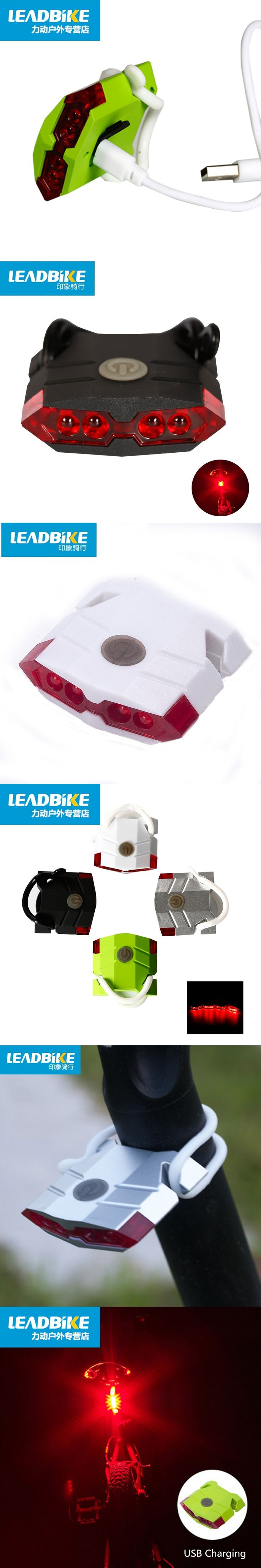 Leadbike Bicycle Rear Light USB Rechargeable ABS 4 LED Waterproof Taillights MTB Road Bike Accessories Hot Sale FreeShipping