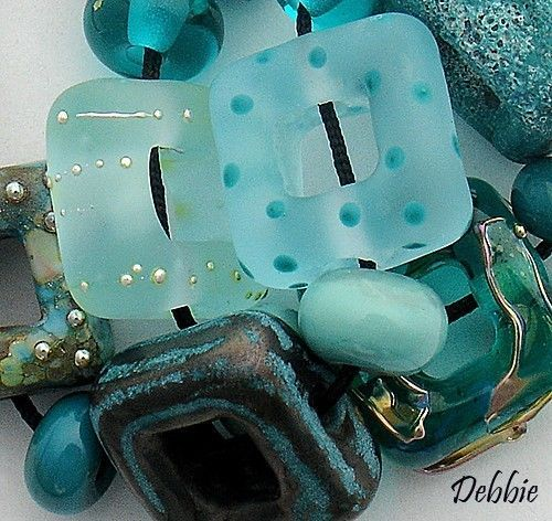 DSG shades of aqua and teal Beads Handmade Organic Lampwork Glass Siren's Garden | eBay