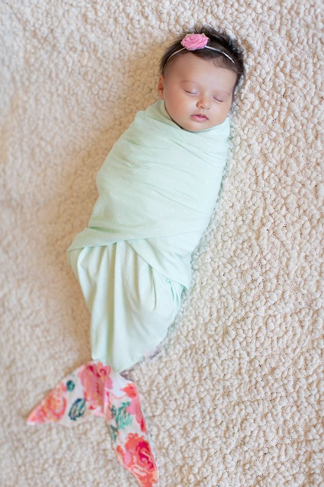 Newborn Mermaid Swaddle Blanket by Whimsy Tails. So cute!!