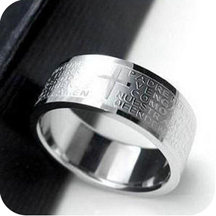 Ringen voor Vrouwen & Mannen Rvs Bijbel Heer zilveren Kruis Ring bruiloft sieraden Ringen