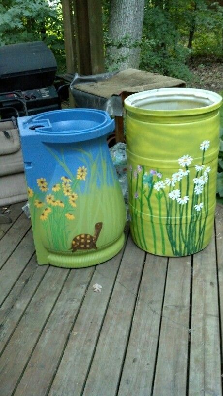 (Pb) Garden: Let it Rain! on Pinterest | @djohnisee ~ PIC: DIY recycle and save RAIN WATER ~ Painted rain barrels ~ NOTE: Krylon Fusion for Plastic® Rust-oleum or Valspar plasic paint / primer ~ are some of the best products to use when spray painting plastic.