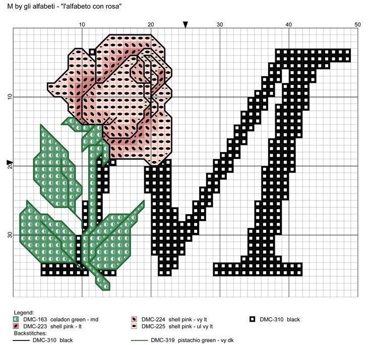 alfabeto con rosa: M