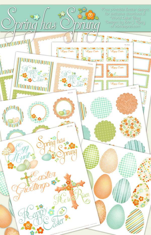 Free Spring and Easter Labels (from World Label).  Of course I see these after Easter has passed.