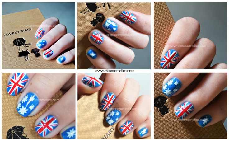 ELES Cosmetics Mineral Makeup Australia Nail Polish NailArt Flag Collage Happy Australia Day! Make a stunning comeback tomorrow at the workplace with a gorgeous Aussie flag nail art and Turquoise blue eye shadow. ♥ #nailart #nailartdesigns #Australia #australiaday2014 #ELES #cosmetics #mineralmakeup #makeup   http://www.elescosmetics.com/blog/blue-red-and-white-the-colours-of-freedom-and-love/